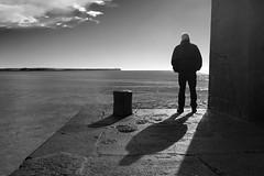 lull (zip po) Tags: morning sea blackandwhite cloud silhouette mono pier shadows