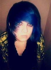 (Hannah Dropdead) Tags: blue girl colorful greeneyes bluehair blackhair dyedhair scenehair colorfulhair multicolouredhair scenefringe flickrandroidapp:filter=none hannahdropdead