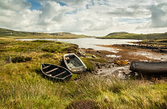 Loch ireasort 4 / Loch Erisort 4 (soilse) Tags: houses sea sky holiday building history beach archaeology grass architecture clouds rural landscape boats islands scotland sand ancienthis