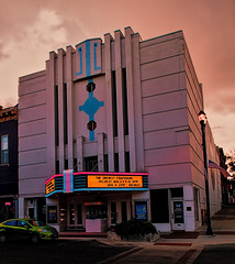 The Hollywood (Pete Zarria) Tags: cinema film sign movie theater neon july lobby hollywood kansas leavenworth 2013