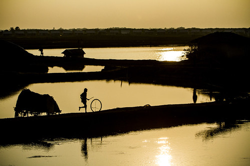Wheeling away at sunset in Khulna, Bangladesh. Photo by Felix Clay/Duckrabbit.