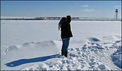 Sunday Drive On A Saturday (Daryll90ca) Tags: shadow sky woman lighthouse lake snow ice bluesky erieau womanwithcamera