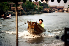19-357 (ndpa / s. lundeen, archivist) Tags: houses homes people woman color film water 35mm buildings thailand boats boat canal bangkok nick canals thai watersedge 1970s 1972 19 tow youngwoman 1973 towing klong dewolf towrope khlong klongs nickdewolf photographbynickdewolf khlongs reel19