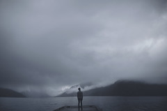 Alone (sun_whisper) Tags: portrait people lake mountains cold art me weather fog clouds photoshop canon photography 50mm washington model pretty modeling magic fine 5d 365 magical pnw 50mm12 expansion markiii