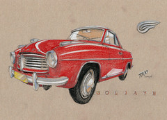 Goliath GP 1100 Coupé (Flaf) Tags: auto brown car museum pencil vintage paper florian crayon goliath coloured dortmund freie panhard automuseum flaf afflerbach zeichnerei