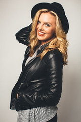 kenzie harr (crystalllrose) Tags: test girl smile leather studio fun happy model pretty shoot jacket commercial laugh blonde update porftolio