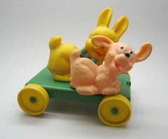 Rosebud Rabbit & Dog (The Moog Image Dump) Tags: rabbit vintage toy pull rosebud along squeaker squeaky
