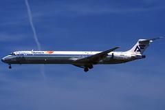 Aviaco (Canarias) MD-88 EC-FHG BCN 03/05/1997 (jordi757) Tags: barcelona nikon airplanes bcn canarias kodachrome douglas f90x kodachrome64 avions mcdonnell elprat md88 aviaco lebl ecfhg