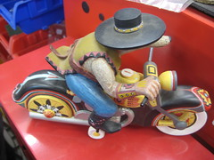 Wood carving. (goldiesguy) Tags: old woodwork funny humor models motorcycles motorbike racer toycars goldiesguy