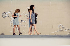 IMG_1672w (Ktoine) Tags: street girls streetart beach smile happy telaviv legs candid joy laugh heels