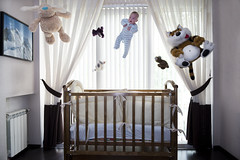 One Big Bounce For Babies! (lance mills) Tags: baby cute fun toys bedroom teddy tiger floating bounce cot bouncing teddys