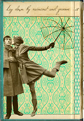 Collage No 18 (annabelletexter) Tags: blue england love rain collage digital umbrella mixed media pattern groove tiffany raincoat wellies