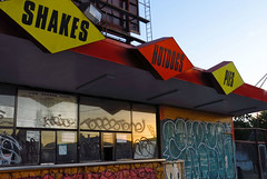IMG_1906-sunset-on-burger-xpress-f (posyche) Tags: signs abandoned graffiti oakland fastfood burgers outofbusiness burgerjoint