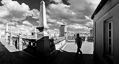 So Paulo - Mirante do Edifcio Martinelli - Panorama (Edinei Matos) Tags: city trip travel light shadow sky people urban blackandwhite bw cloud cold building monochrome silhouette outside person high downtown alone tour looking outdoor sopaulo balcony horizon sightseeing culture cellphone samsung tall wandering martinelli greatphotographers clicksp
