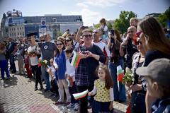 Dans les rues de Sofia, lors de la fte de la Culture bulgare et de lAlphabet slave (OIFrancophonie) Tags: sofia bibliothque oif slave bulgarie francophonie michallejean