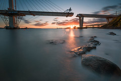 Almost There! (roseysnapper) Tags: sunset sky water river bride rocks outdoor wideangle goldenhour firthofforth forthbridges nikond810 nikkor1424f28 forthreplacementcrossing
