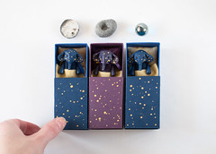 starry elephants (free_dragonfly) Tags: blue elephant cute animals stars toys miniature purple handmade clay tiny matchbox polymer