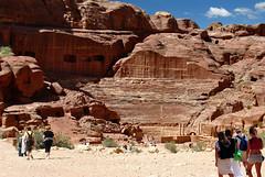Petra and the Roman Amphitheater  - Jordan. (hanna_astephan) Tags: jordan jordania jordanien petra wadimusa history heritage ruins ancient amphitheater travel tourists tourism desert sand sculpture mountainside nikond3000 architecture sky