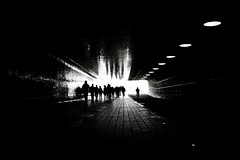 forms (1crzqbn) Tags: street city friends light people bw monochrome lines bicycle reflections dark cityscape shadows silhouettes tunnel serene amsterdamcentralstation