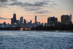 2016 Downtown Chicago From Montrose Point 2 (DrLensCap) Tags: park lake chicago robert sunrise dawn harbor illinois michigan il lincoln montrose kramer highrises