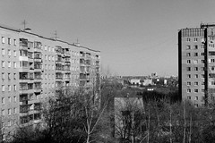 untitled (Anton Zabermach) Tags: city urban blackandwhite bw film architecture analog 35mm cityscape nikkor ilford fp4 nikonfe2 selfdeveloped microphen 50mmf18ai