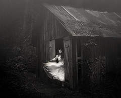 The Forgotten Home (Maren Klemp) Tags: summer blackandwhite woman house mist selfportrait painterly building texture abandoned home nature monochrome fog forest outdoors movement fineart selfportraits ethereal expressive nostalgic melancholy fineartphotography abandonedbuilding thewoods whitedress evocative expressivephotography fineartphotographer