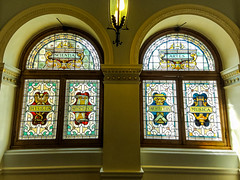 Scientia and Artes (Canadian Dragon) Tags: windows light summer canada bc august stainedglass victoria vancouverisland musica artes legislature parliamentbuildings 2015 scientia hygeia arithmetica dschx5c architechura