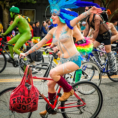 Look at Me! (KPortin) Tags: seattle smiling feathers bicycles sequins fremontsolsticeparade paintedbicyclists