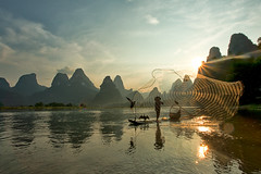 Made in China (Jim.J.H) Tags: china sunset wow liriver guilin guangxi xingping cormorantfisherman