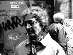 sick of vandals (maus.insomniac) Tags: old grandma grandmother glasses grey hair graffiti tag dirty urban city bus station