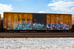 (o texano) Tags: bench graffiti texas houston trains pbj bk freights benching dkops