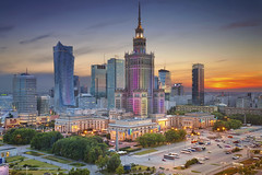 Warsaw. (Rudi1976) Tags: street city travel sunset sky urban skyline architecture skyscraper twilight downtown cityscape outdoor dusk poland landmark warsaw famousplace buildingexterior