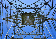 Geometry at the bottom of electricity tower (philipchan32866) Tags: blue light sunlight abstract tower geometric sunshine electric metal contrast square construction triangle afternoon geometry walk top bottom structure symmetry trail electricity symmetric bottomup triangular