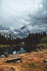 Blue Lake With Cervino (SplitShire) Tags: travel blue sky italy mountain lake snow alps ice beautiful landscape switzerland high scenery europe view altitude peak landmark evergreen alpine valley matterhorn aosta breuilcervinia