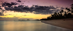 fiji beach (jaygilmour11) Tags: water sea ocean sky sunset sand trees purple blue fiji palm tree clouds longexposure nikon sigma yellow beach travelling landscape