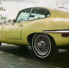 Yellow cat (GmanViz) Tags: door roof color detail 120 6x6 film car wheel analog mediumformat automobile tire hasselblad bumper fender fujifilm jaguar etype 500cm pro400h gmanviz