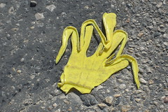 ol' melty hand (Justin van Damme) Tags: melt ol melty hand found object yellow melted fingers shape asphalt ground things objects junk plastic