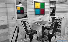 Restaurant (curious.eagle) Tags: art photography grayscale selective color touch retouch colors rgb yellow red green blue design wall gray grey chair table artwork interiors architecture frame empty