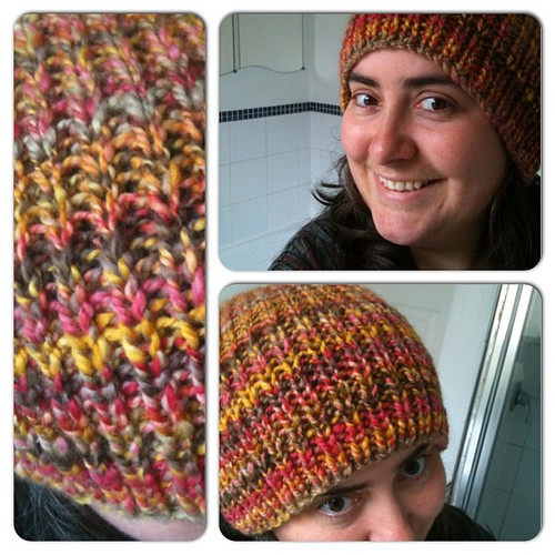 Finall took pictures of my handspan slouch hat in Merino Fall Leaves from www.sarastexturecrafts.comThis hat is so soft!