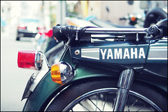 Osaka no Mate (Eric Flexyourhead) Tags: old city urban detail green bike japan bokeh motorbike worn motorcycle yamaha  weathered osaka mate kansai chuo patina fragment tanimachi chuoku   osakashi   panaleica25mmf14 yamahamate leicadgsummilux25mmf14asph olympusem5