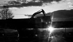 (Mark ~ JerseyStyle Photography) Tags: bw sunrise newjersey route33 2013 canon50d newjerseyphotographers jerseystylephotography wwwjerseystylephotographywordpresscom workingonthehighway april2013 markvkrajnakallrightsreserved2013