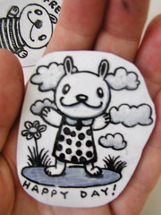 happy day sticker (Pippypippy) Tags: streetart rabbit bunny art moleskine animal clouds pencil ink painting stars happy artwork sticker stickerart dress drawing sketchbook draw gouache pencildrawing
