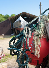 Found in a farmyard.... (VolVal) Tags: june boat rope dorset buoys burton buoyant
