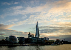 Steel, glass, London (ralluchi) Tags: city sunset urban cloud london thames riverside cityhall shard londoncityhall