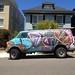 Grafitti Painted Van in Blues, Pinks & Orange