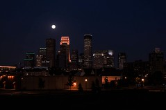 Hot and Hazy Blue Moon (Doug Wallick) Tags: blue moon hot minnesota skyline night minneapolis full clear hazy lunar lightroom a55 august20 explored 2013