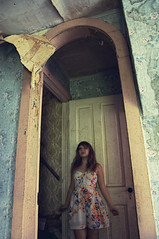 (yyellowbird) Tags: door wallpaper house selfportrait abandoned girl illinois cari