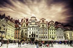 Old Square, Praha (Harsha Meghadri) Tags: street travel people clouds evening europe prague awesome apocalypse panning hdr