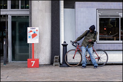 LOST (jonron239) Tags: boy man london sunglasses bike shirt hoodie jeans geezer royalfestivalhall streetfashion streetstyle