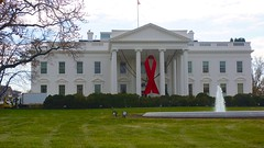 World AIDS Day - Red Ribbon on the White House Portico 33925